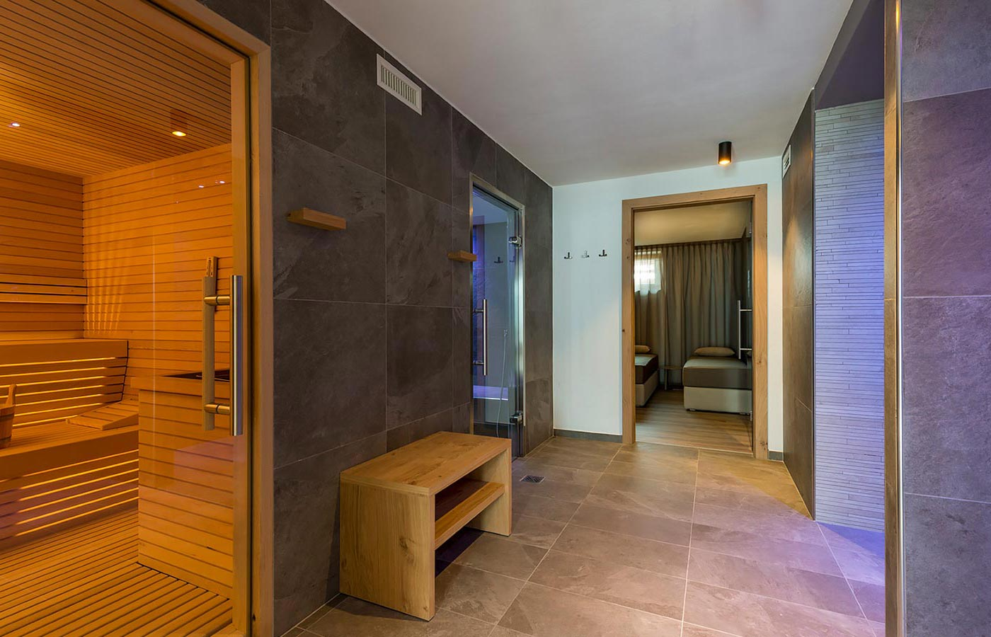 Elegant wellness area of Chalet Aster